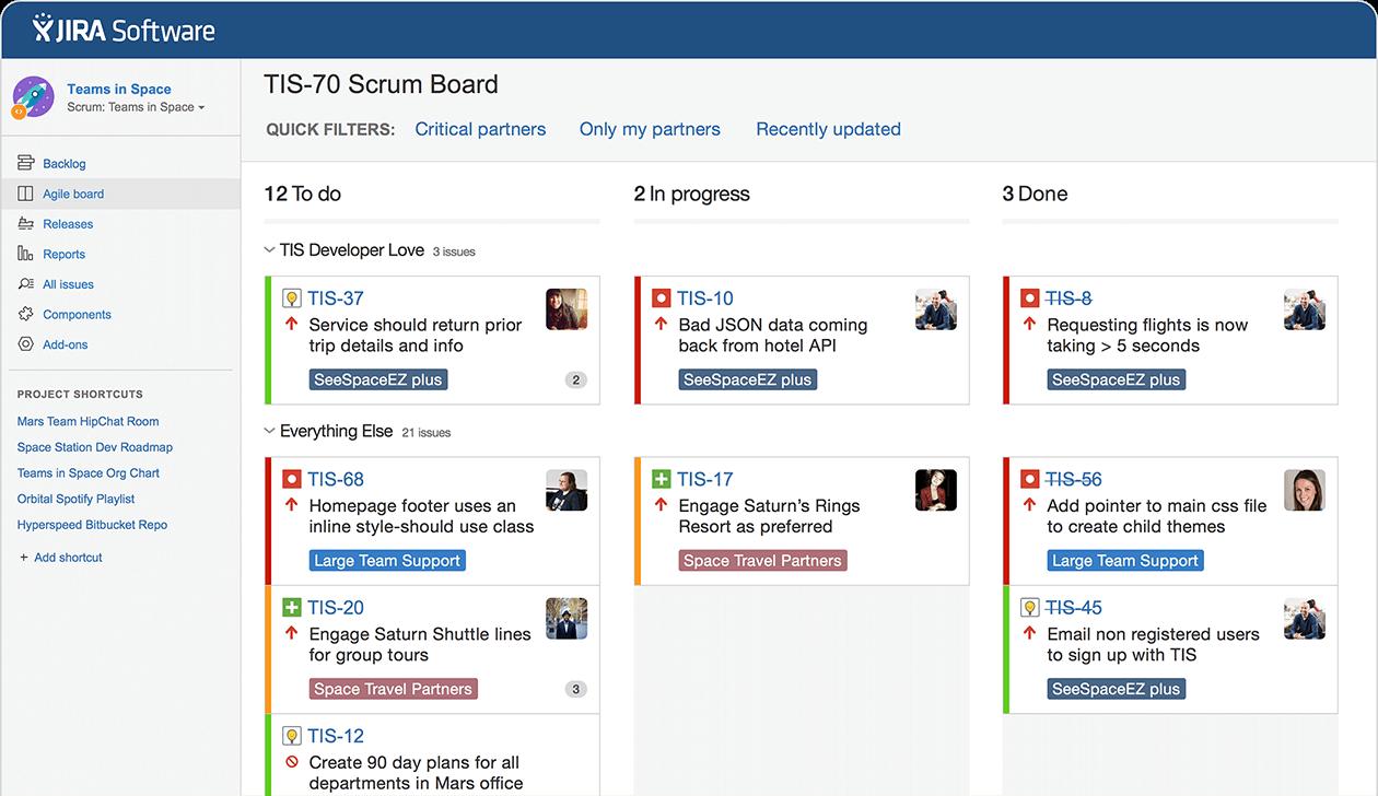 Atlassian JIRA dashboard